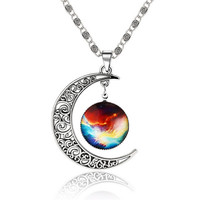 2016 Galaxy Necklace Glass Cabochon Alloy Hollow Moon Pendant Silver Chain Women Romantic Moon Nacklace
