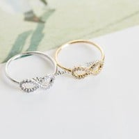 Shuangshuo Multicolor Silver Infinity Friendship Ring with crystal Best Friend Rings Wedding Engagement Jewelry Rings for Women