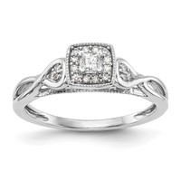 14k White Gold Princessa Diamond Halo Infinity Side Engagement Ring