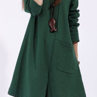Green Long Sleeve Asymmetrical  Loose Dress