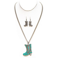 Turquoise stone cowboy boot necklace *ne4035-1*