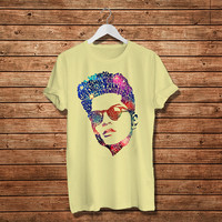 Bruno Mars Face Typography Lyric, Famous American Singer T.Shirt., Women T-Shirt (Available Various Color)