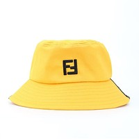 FENDI Summer Fashion Women Men Embroidery Breathable Fabric Cap Fisherman Hat Yellow