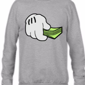 mickey money hands - Crewneck Sweatshirt