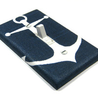 Navy Blue Anchor Light Switch Cover Nautical Decor Nautical Nursery Bedroom Decoration Switch Plate 1445
