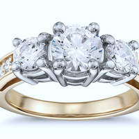 2.02ct G-SI1 Round Diamond Engagement Ring 18kt White & Yellow Gold  JEWELFORME BLUE