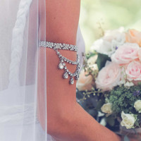 Custom Made Silver Jewelled Arm Band for Boho Brides, Gypsies, Summer Lovers. Style: 'Deep Sea'
