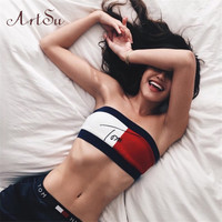 2016 European Fashion Women's Sexy  Letters Printed T-Shirt Strapless Low-Cut Bras Wrapped Chest Crop Top ASVE10004