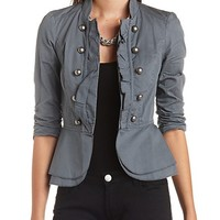 RUCHED THREE QUARTER SLEEVE COTTON MILITARY JACKET