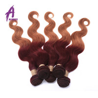 Hot sale Ombre Indian Virgin Hair Extensions Body Wave Two Tone 5 Bundles 99j/30 Cheap Unprocessed Ombre Human Hair Weaves
