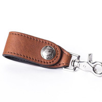 Bison Leather Latching Key Holder with Buffalo Nickel Embellishment - Rich Brown - Handmade in USA - Free Shipping