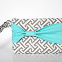 Bridesmaid Clutch Pouch Cosmetic Case MakeUp Bag Wristlet Accessory Pouch Zippered Grey & White Geometric Pattern with Aqua Side Bow