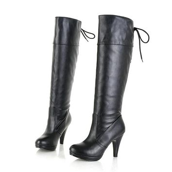 Pu Leather High Heel Tall Boots for Women 2383