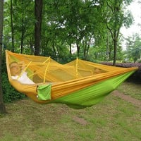 Portable Outdoor Leisure Traveling Camping Parachute NylonFabric Parachute Hammock Hanging Bed With Mosquito Net SleepingHammock
