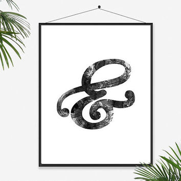 Ampersand watercolor Art Wall Letter Modern Home Decor Inspirational Print Chic Elegant Decor Black and white Minimalistic Calligraphy Brush