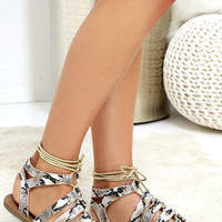 Outlying Lands Snake Print Lace-Up Flat Sandals