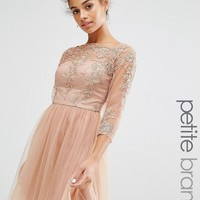 Chi Chi London Petite Allover Premium Embroidered Lace Mini Dress With Tulle Skirt at asos.com