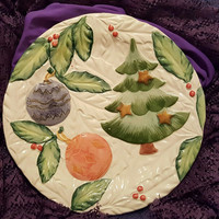 Christmas Plate With Christmas Tree and Decorations Made in Italy, Italian Christmas Plate