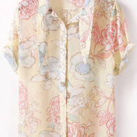 Yellow Turn-down Collar Buttons Panel Short Sleeve Chiffon Blouse
