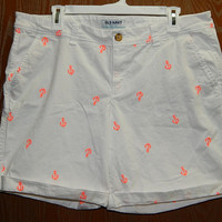 Old Navy Womens 14 White Cotton Stretch Shorts Neon Orange Boat Anchors
