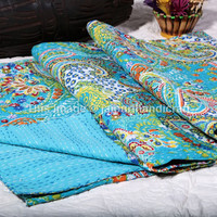 Turquoise Paisley Indian Kantha Quilt Bedspread Blanket Bedding Throw, Cotton Handmade Floral Ikat kantha Quilt Gudari Bedspread, Decor Art
