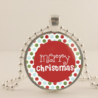 """Red Merry Christmas, 1"""" glass and metal Pendant necklace Jewelry."""
