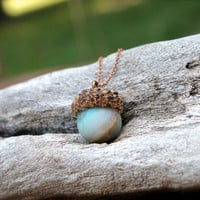 Acorn & Stone Necklace - Amazonite Jewelry - Wiccan Jewelry - Real Acorn Jewelry - Woodland Hippie Necklace - Pagan Necklace - Boho Chic