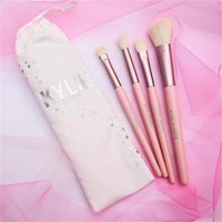 (Presell)- Kylie Jenner Turns 20 20th Cosmetics 4pcs Pink Brush Set 4 I WANT IT ALL Birthday Collection Limited Edition Makeup brushes tarte