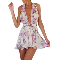 2016 New Bohemian Style Women Sexy Short Jumpsuit Floral Deep V Design Backless Chiffon Romper Playsuit Casual Beach Wear