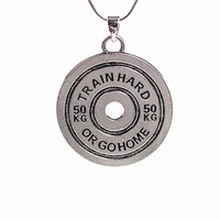 Barbell Man   Trainhard or Go Home Weight Plate Fitness Necklace