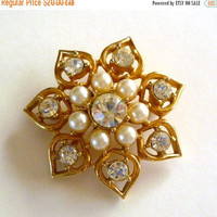 SALE Pearl Rhinestone Brooch Signed Sarah Coventry, Vintage Pearl Jewelry