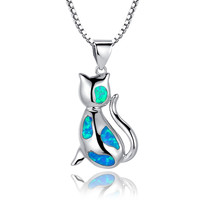 Sterling Silver Cat W. Blue and Green Fire Opal Pendant Necklace