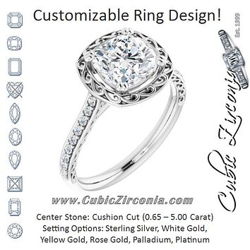 Cubic Zirconia Engagement Ring- The Montserrat  (Customizable Cushion Cut Halo Design with Filigree and Accented Band)