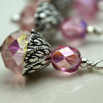Pink AB Multifaceted Rondelle and Czech Crystal Bead Earring Dangle Necklace Charm Drop Set