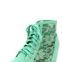 Nature Breeze Dana-12 Sea Green Lace Hidden Wedge Sneakers and Shop Shoes at MakeMeChic.com
