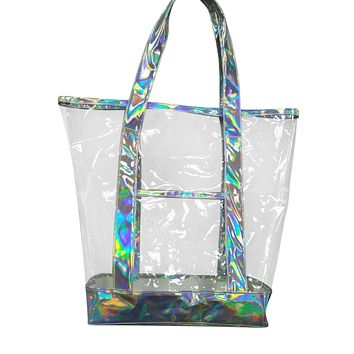 Clear Iridescent and Leather Hand Bag Tote