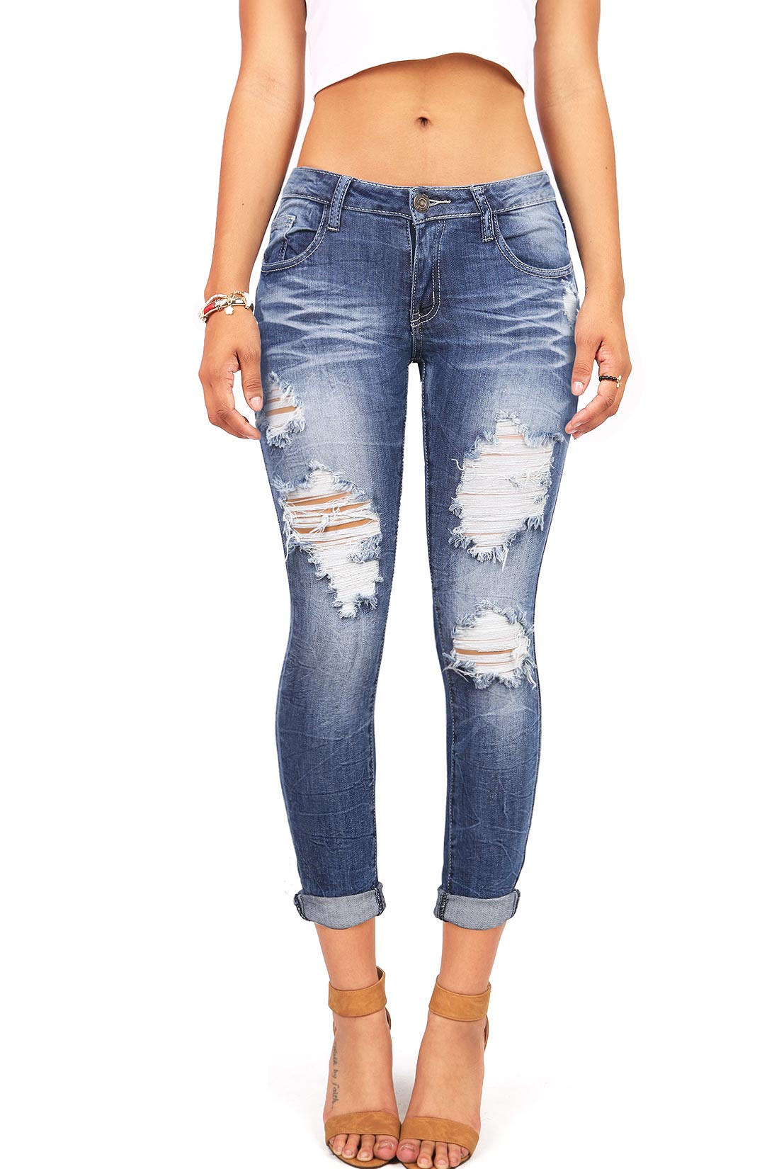 Image of Ripped Low-Rise Ankle Jeans