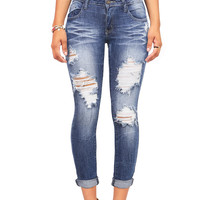 Ripped Low-Rise Ankle Jeans