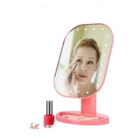 CN-RUBR New Professional LED Light Touch Screen Mirror for Women Beauty Cosmetic Square Vanity Mirror Desk Stand Makeup Mirrors