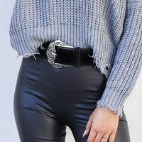 Left Field Black Suede Western Belt with Oversized Silver Buckle