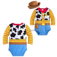 Licensed cool Toy Story Cowboy Woody Costume Bodysuit & Hat for Baby Disney Store 0-24M NEW