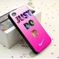 Nike Just Do It Pink Bling Print on Hard Cover - Plastic, Silicone Case - iPhone 4 4s 5 5s 5c, Samsung S3 S4