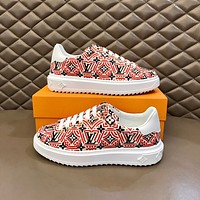LV Louis Vuitton Men's And Women's Leather Low Top Sneakers Shoes