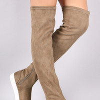 Wild Diva Lounge Suede Over-The-Knee Sneaker Boots