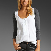Local Celebrity Hendrix Henley Top in White/Black from REVOLVEclothing.com