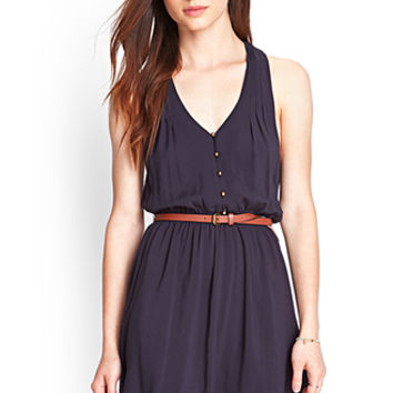 FOREVER 21 Buttoned Halter Dress Midnight