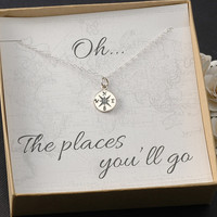 Compass Necklace - New Job - Graduation - Travel - College Gift - Silver or Gold Compass Charm