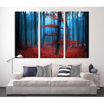 Large Art Print Blue Dark Forest Red Forest Large Wall Art Print Extra Large 3 Panel Art Canvas