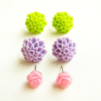 Soft Pastels Flower Post Earrings, Gift set of Three Pairs, Neon Green, Lilac, Pink Dahlia and Rose stud earrings