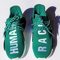 bashy fashion Unisex Pharrell Williams NMD hu Human Race New Green Tennis Sneakers Shoes